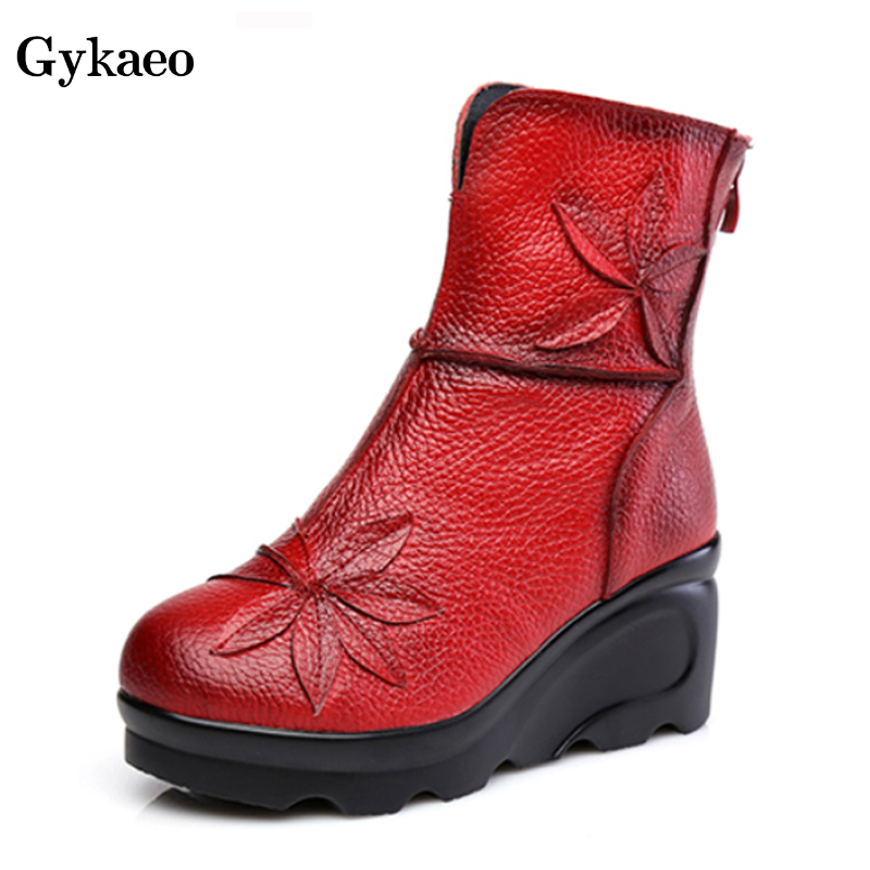 Gykaeo Folk Style Thick Warm Soled Red Boots 2019 Winter Women Genuine Leather Platform Boots Mother