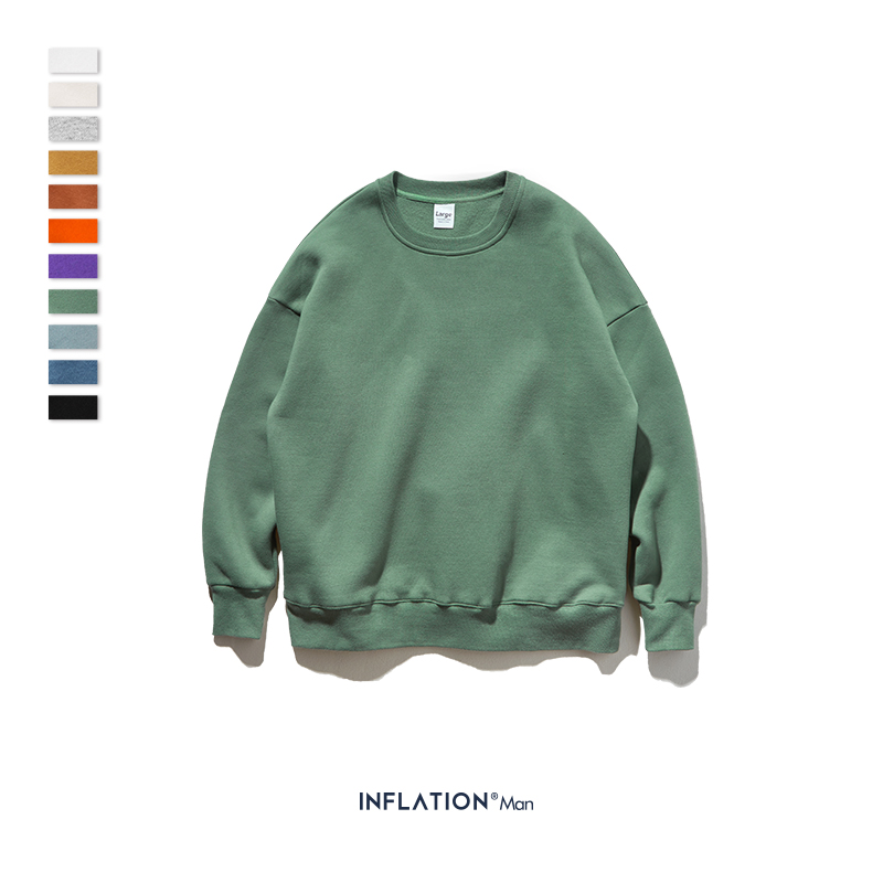 INFLATION Winter Mens Hip Hop Multi-colour Hoodies Velvet Fabrics Fleece Sweatshirts 8 Solid Color Winter Men Sweatshirts 166W17 15