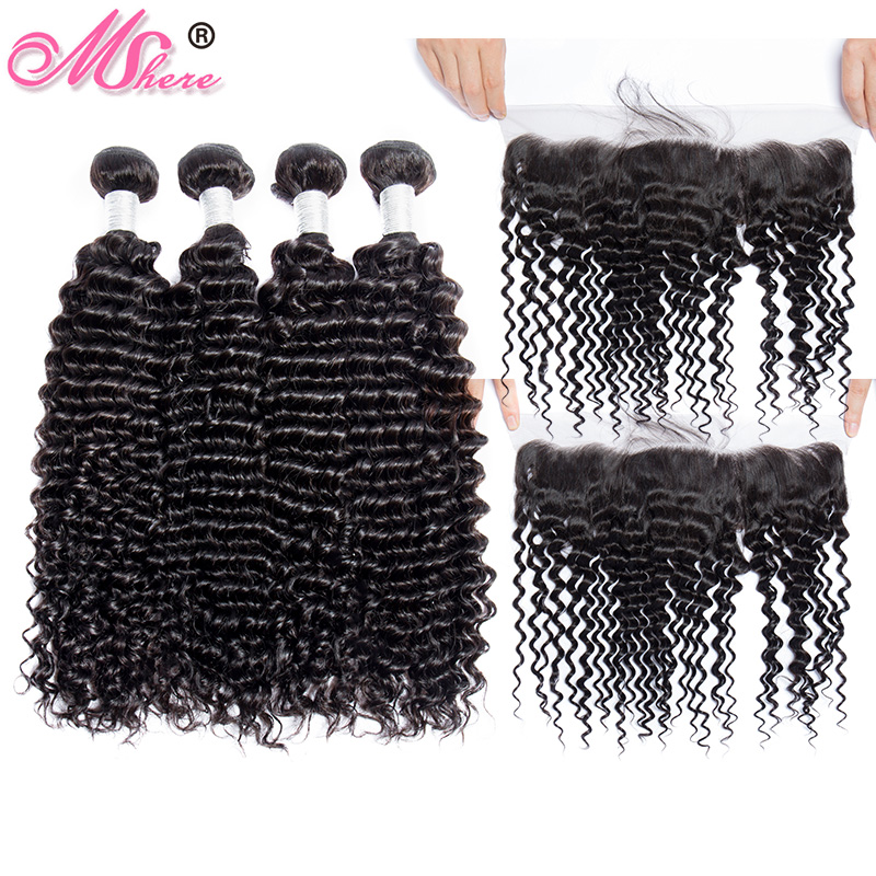 Mshere Hair Indian Remy Curly Hair Lace Frontal Closure With Bundles Pre Plucked LaceFrontal With Human
