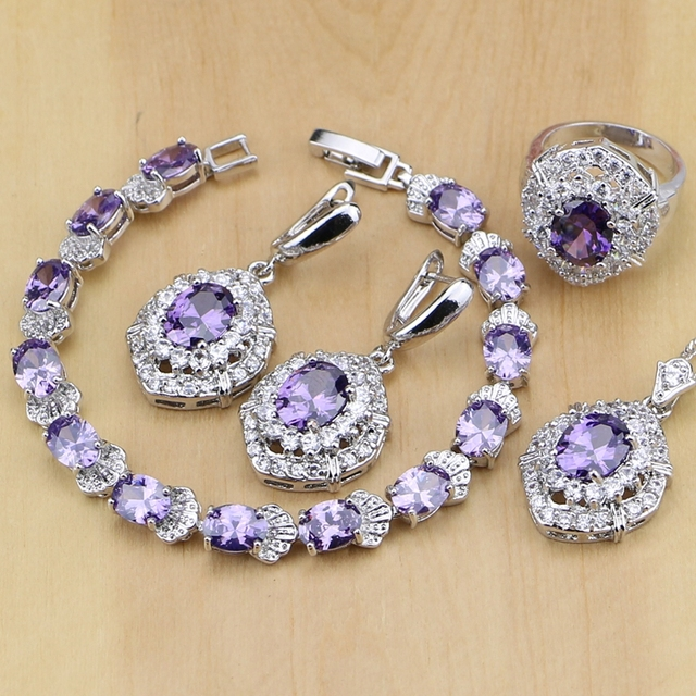 Classic Purple Cubic Zirconia White Crystal 925 Sterling Silver Jewelry Sets For