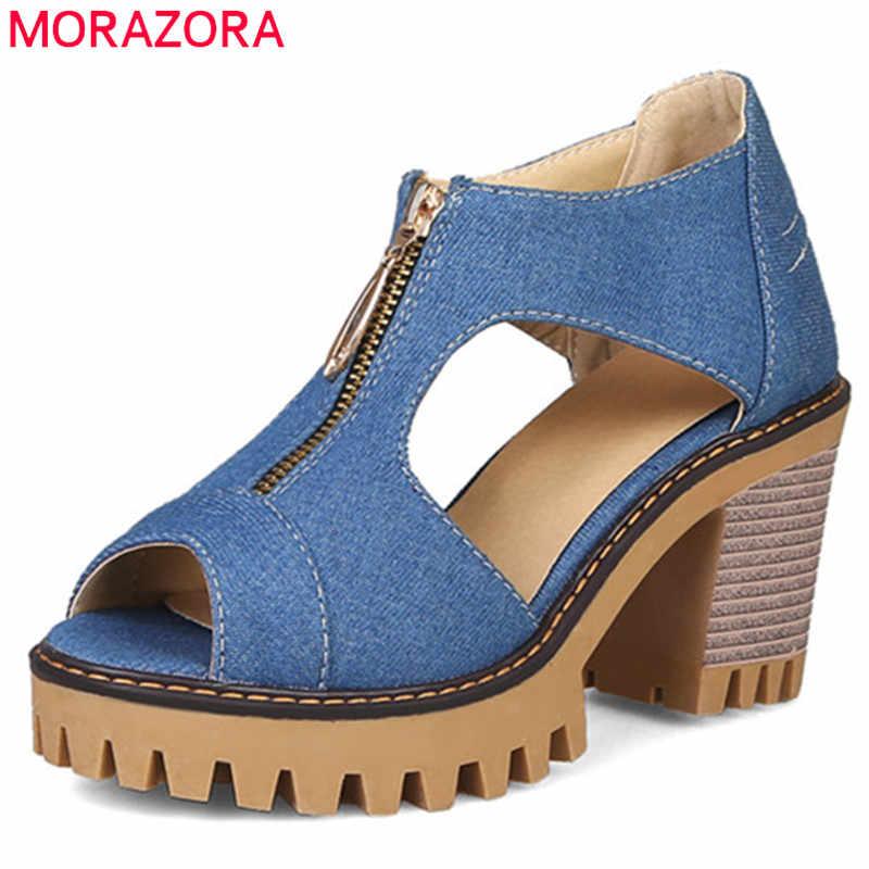 MORAZORA/2019 г. новые женские джинсовые сандалии обувь на платформе с открытым носком на высоком каблуке модная летняя модельная обувь на молнии Женская офисная обувь