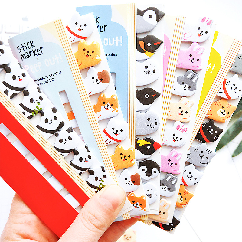 1Pcs Cute Kawaii Cartoon Animal Bookmark Sticky Note Student Message Sticky Planner Stickers Memo Pad Gift Stationery Notebook