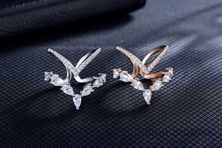 925 prata esterlina irregular dupla camada zircônia anel para feminino anillos anéis redimensionáveis bague S-R172