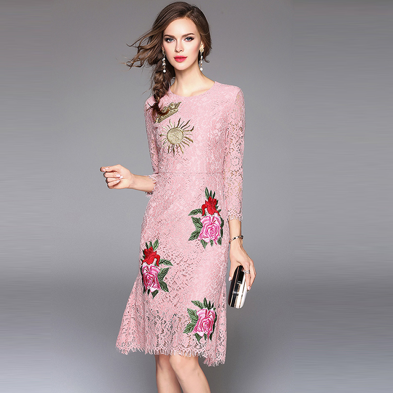Robes Femmes Broderie O Casual Femininas Printemps Taille Mince Floral Dentelle Rose Pleine 2018 Robe Manches Évider Cou pqgtxnXWBw