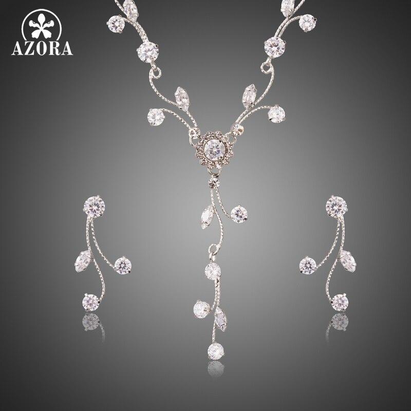 цена на AZORA Luminous Clear Zirconia Sparkling Flower with Branch Geometric Women Jewelry Set White Gold Color Jewelry Gift TG0249