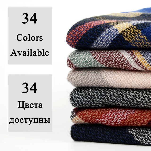 New Designer 2019 Winter Women Scarf Cashmere Scarf Female Plaid Scarves Triangle Blanket Shawls and Scarves 140*140*210cm