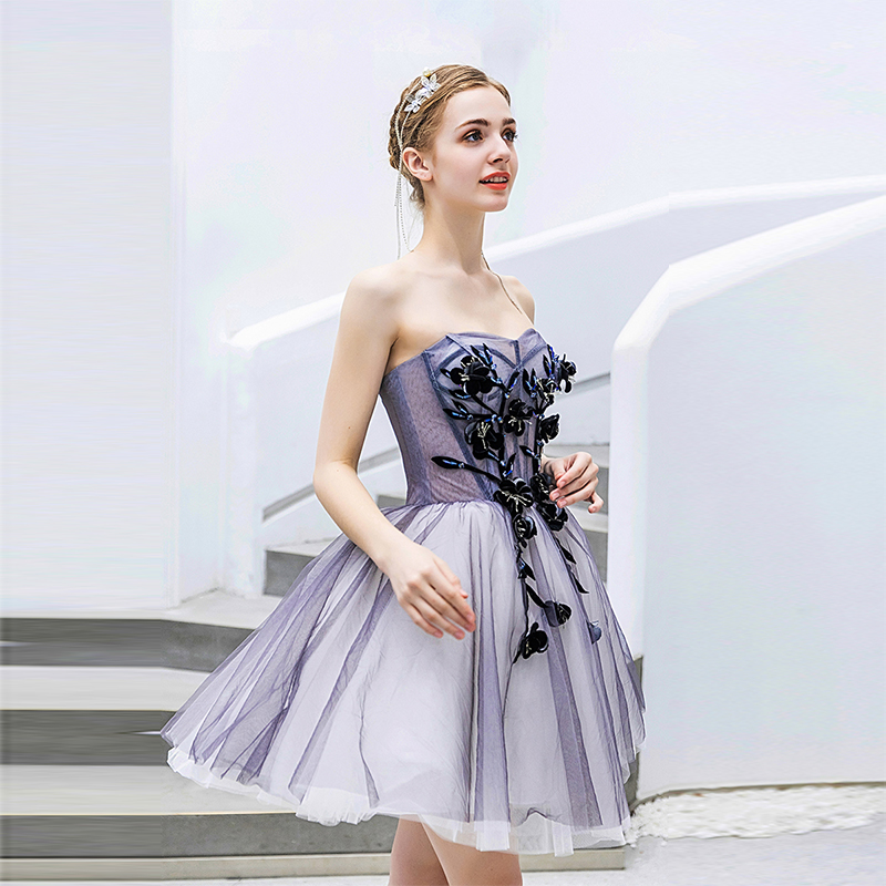Strapless Short Mini   Cocktail     Dresses   Illusion Bodice 3D Appliques Tiered Skirt 2019 Sexy Vestido De   Cocktail   Party Prom   Dresses