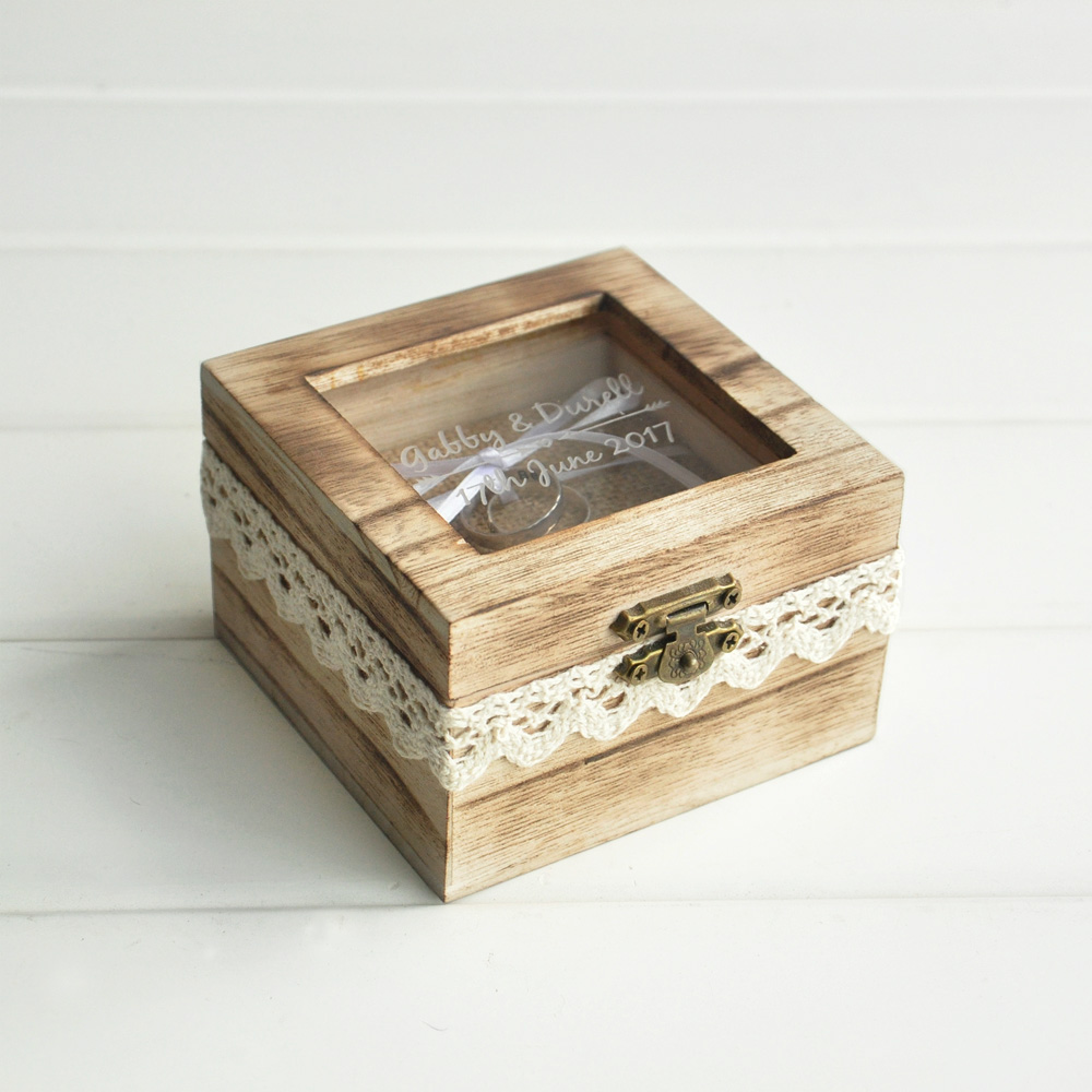 Personalized ring box wooden ring beaer box rustic wedding for Custom made ring box