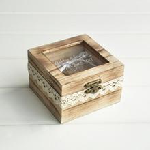 Персонализированные кольцо Box, деревянное кольцо beaer коробка, Деревенское обручальное кольцо держатель, пользовательские выгравированы кольцо поле
