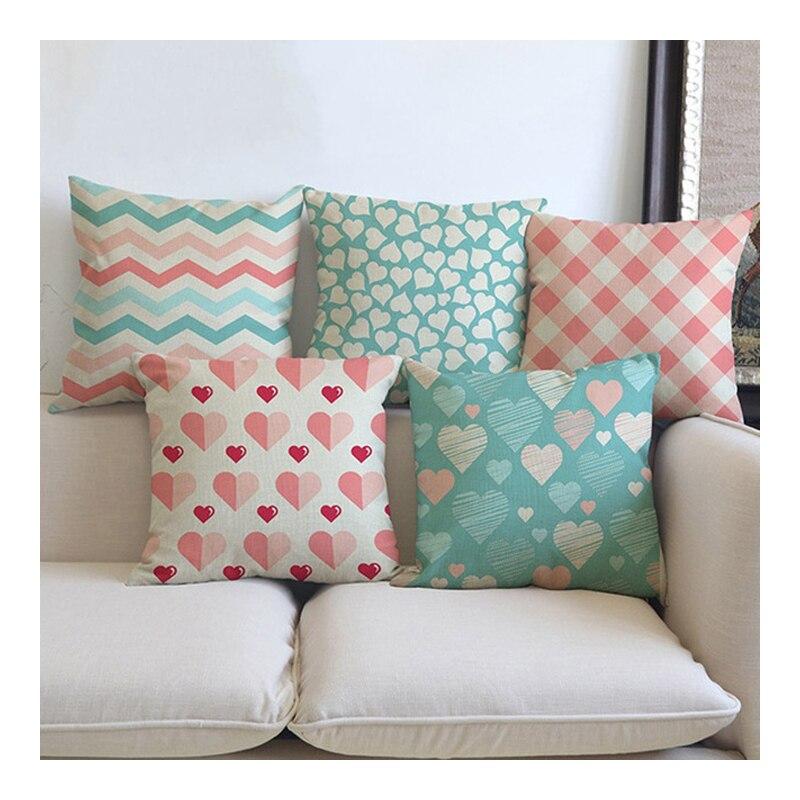 Pink Plaids Strips Heart Print Decorative Cushion Cover For Sofa Car Home Decor Cotton Linen Square Throw Pillow Case 45x45cm