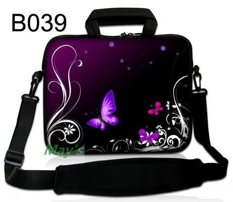 Purple Butterfly Neoprene 10 10.1 12 11.6 13 13.3 15 15.4 14.4 17 17.3 Notebook Laptop Shoulder Bag Carry Handle Cases Bag ...