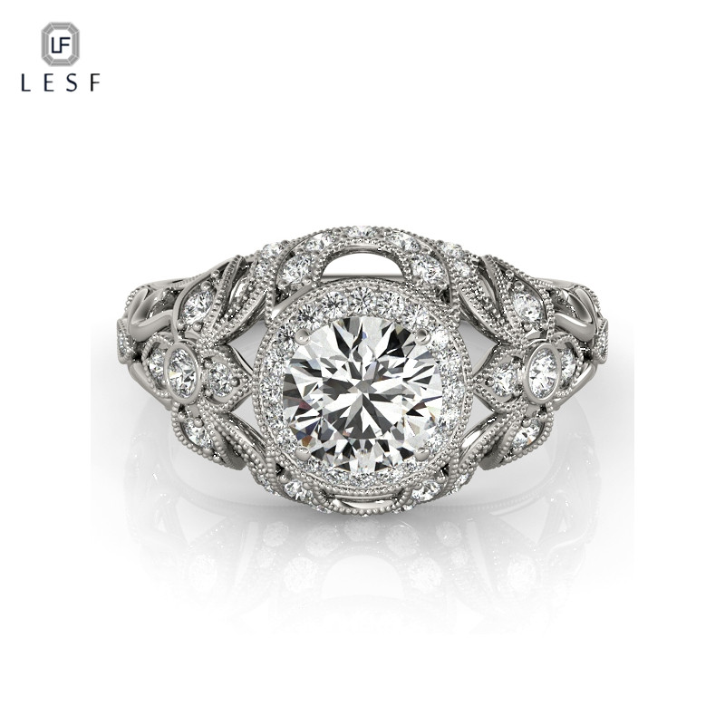LESF Classic 1 ct Round Cut Cubic Zirconia Halo Engagement Promise Ring 925 Sterling Silver Jewelry For Women Wedding Gift