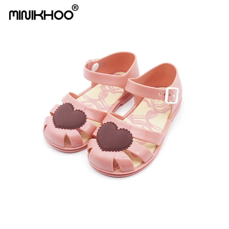 Mini Melissa 2018 New Mini Roma Jelly Sandals Children Leisure Non-slip Love Cool Sandals Princess Cute Single Shoes Shoes melissa big bow brazil girls jelly sandals 2018 summer children sandals melissa shoes non slip girls princess sandals
