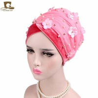 New Fashion 3D Flower Beaded Extra Long Mesh And Velvet Turban Head Wrap Nigerian Turban Stylish