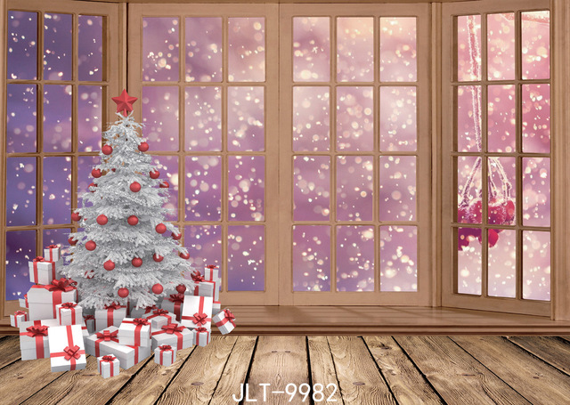 Christmas Tree Gift Photography Backdrops House Decoration Wood ...
