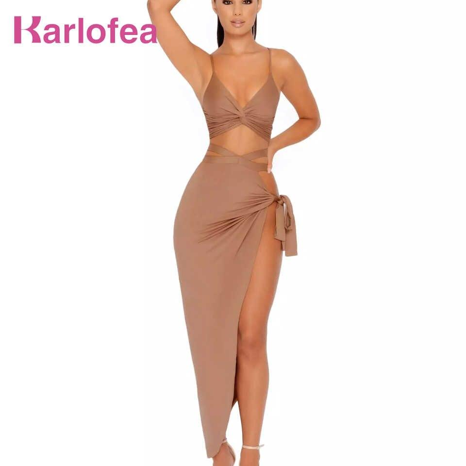 80f9ba9a200 Karlofea клуб Бандажное летнее платье женские длинное платье с разрезами на  день рождения Вечеринка из двух