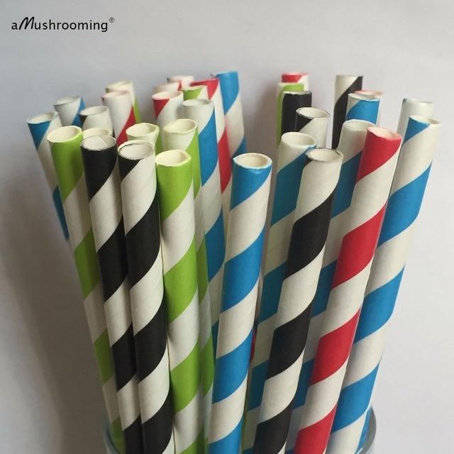 Stripe Paper Straws Black Green Blue Red Set 100 Wedding Table ...