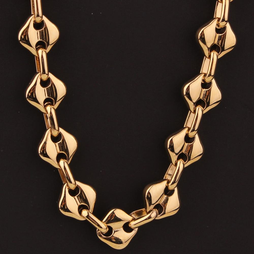 Coffee Beans Link Chain 10MM Necklace For Men Stainless Steel Rope Link chain Necklaces Fashion Hip hop Men Jewelry in Chain Necklaces from Jewelry Accessories