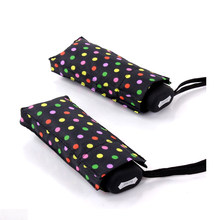Mini parapluie pliant à points colorés | Parapluie de pluie pour femmes 195g, imperméable Super léger, petites poches, parapluie de voyage l'impôt