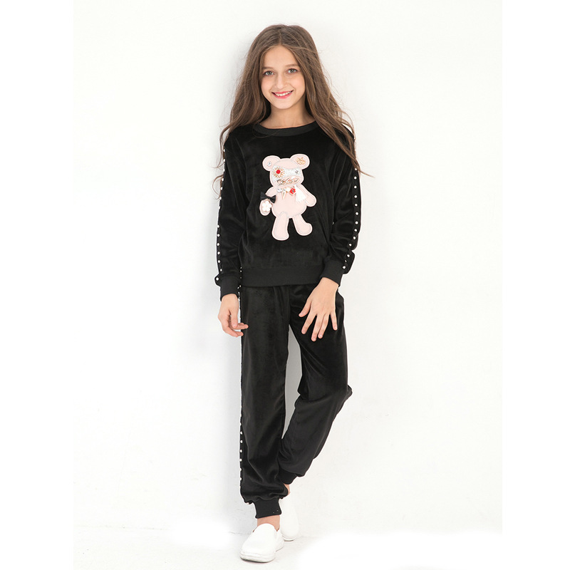 Fashion Little Girls Clothing Set Long Sleeve Autumn Winter Suits Carton Bear Two-piece Girls Sport Suits 6 7 8 9 10 12 years fashion two piece set white lace hollow out long sleeve clothing set women tracksuits coat top and shorts plus size s xxl