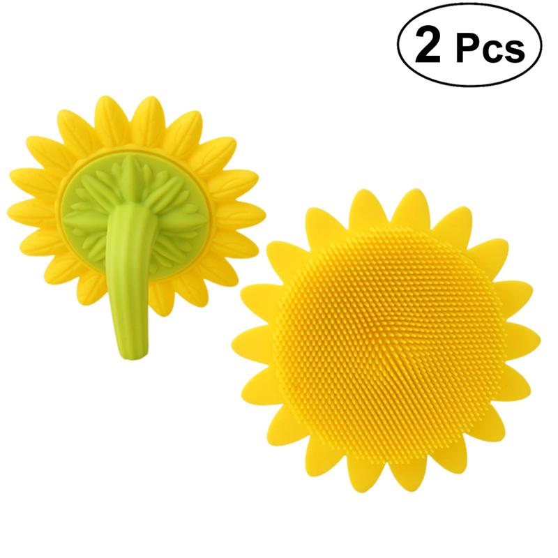 2pcs Silicone Bath Brushes Sunflower shaped Shower Brush Hair Shampoo Brushes for Baby and Adult|Bath Brushes  Sponges & Scrubbers| |  - title=