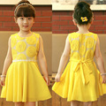 JJ-2, muchachas del verano se visten, sunflower bordado chaleco de la gasa vestido amarillo