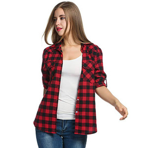 JAYCOSIN Womens Plaid Flannel Shirts Casual Button Roll up Sleeve Tops Slim Fit Workwear Female Blouse 2019