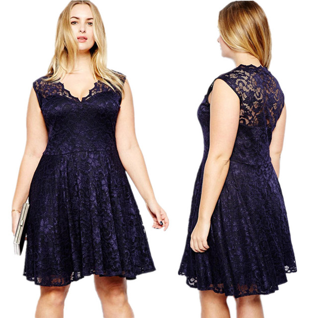 de828bcd659 Full of Lace Solid Navy Dark Blue Hollow Out Shoulder V-Neck Fat Lace A-Line  Dress Fatty Women Big Over Size Cute Dresses Summer