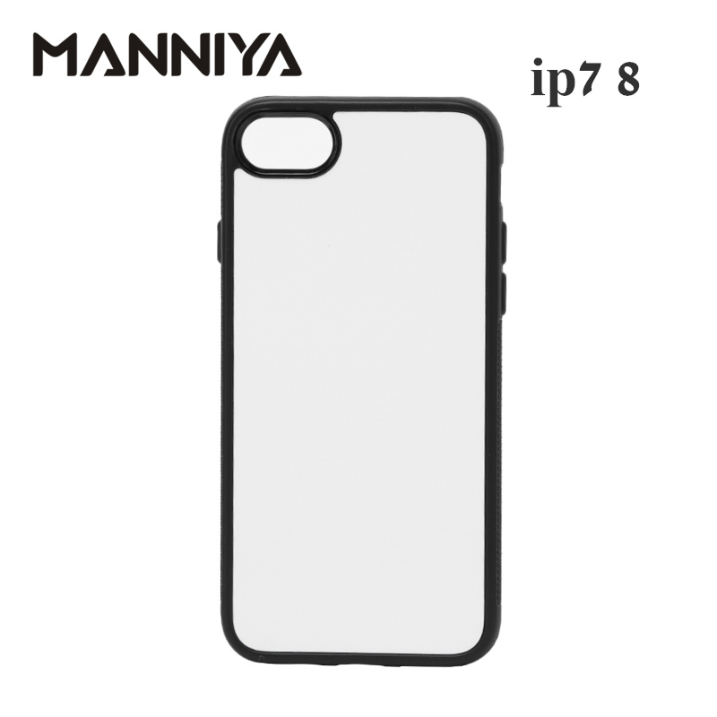 MANNIYA 2D Sublimation Tom gummi TPU + PC-fodral för iphone 7 8 med aluminiuminsatser och tejp Gratis frakt! 100pcs / lot