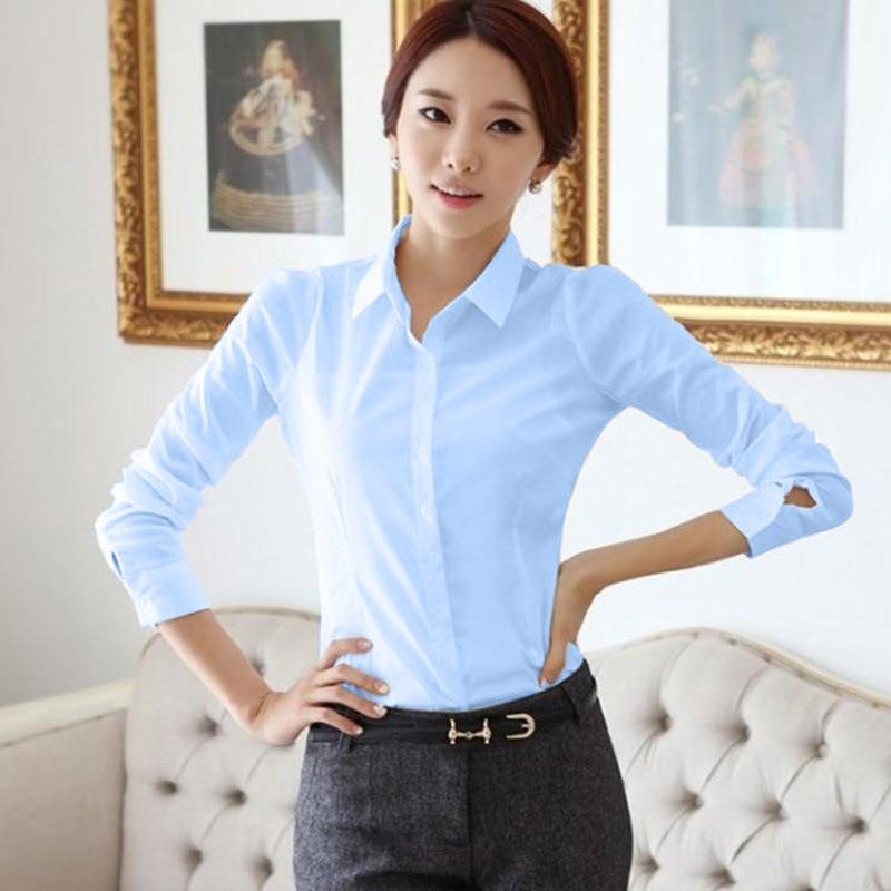 Fashion Women Blouses 2019 Spring Summer Long Sleeve Shirts Blouse Shirt Office Work Wear Formal Elegant Tops White/Black/Blue