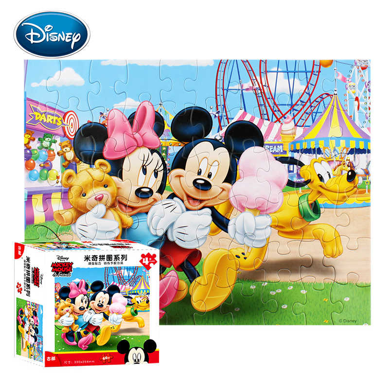 Disney 60 stücke Kid Cartoon Papier Puzzle Mickey/Prinzessin/Racing kinder Boutique Puzzle Geburtstag Geschenk