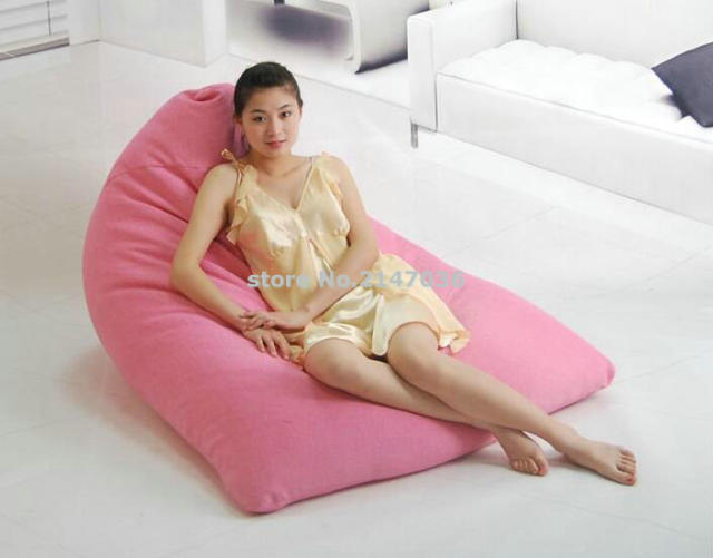 Rose Pink Modern Back Support Floor Chair Puff Bean Bag Outdoor Beanbag Sofa Seat