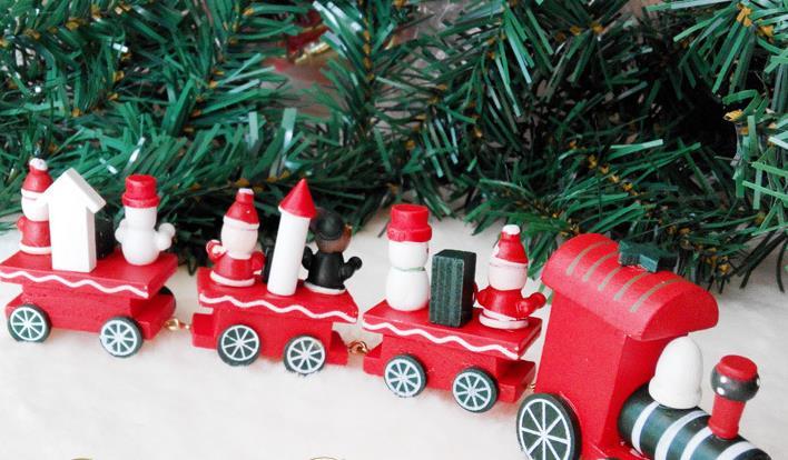 Vintage Wood Train Christmas Ornaments Christmas Santa Decoration ...