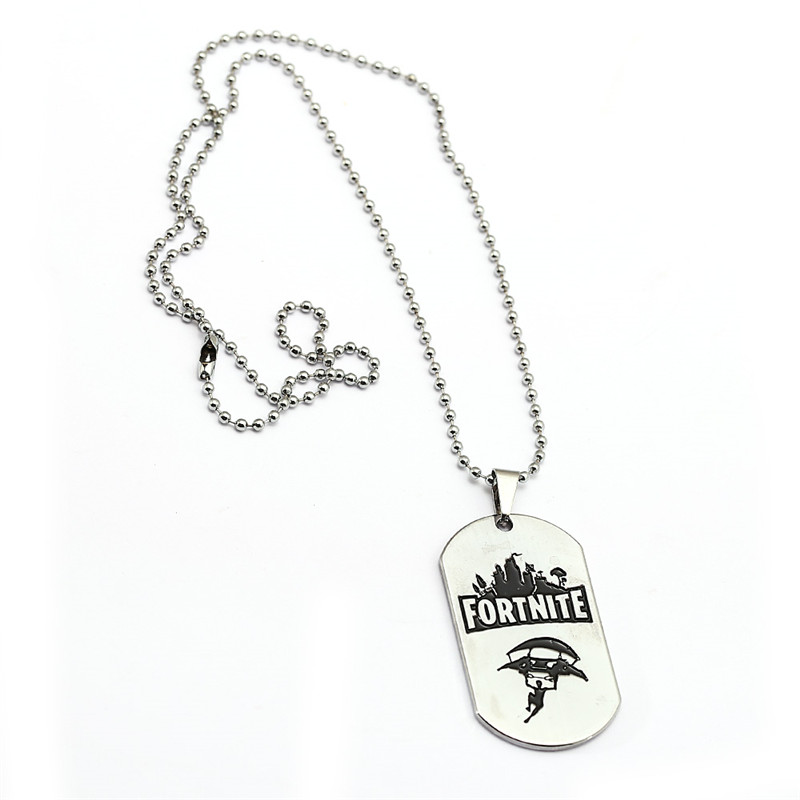 HSIC New 2018 Fortnite Necklace Metal Dog Tag Pendant Necklace FPS Game Fortnite Logo Fashion Friendship Accessories Souvenir