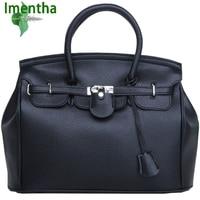 Bán buôn phụ nữ lớn túi xách 35 cm khóa túi kích thước lớn chất lượng pu da màu đen và trắng lady purse casual tote Top-Xử Lý túi