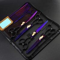 6 kit Professional Japan 7 inch voilet dog grooming hair scissors pet cutting barber thinning shears hairdressing scissors set