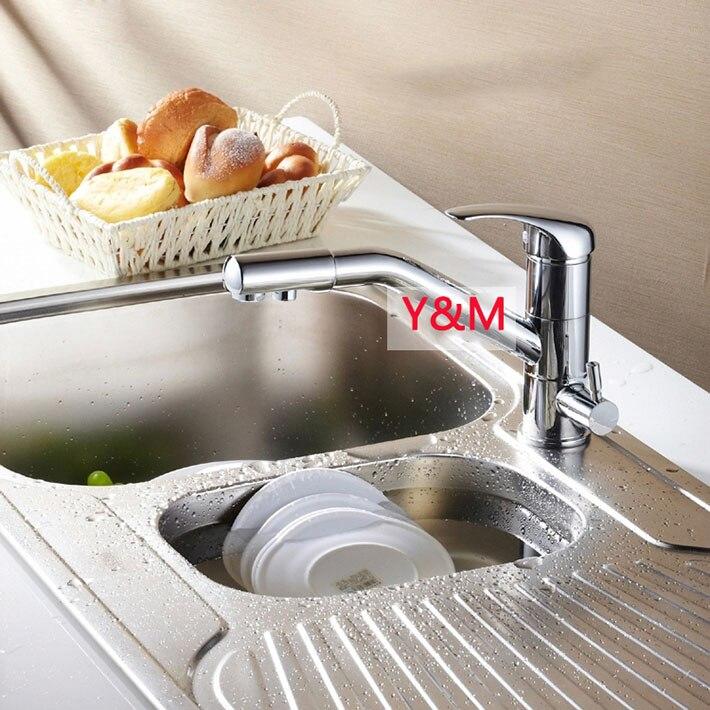 Смарт латунь 3 Way кран, горячей и холодной и очищенная вода, питьевой воды кухонной мойки