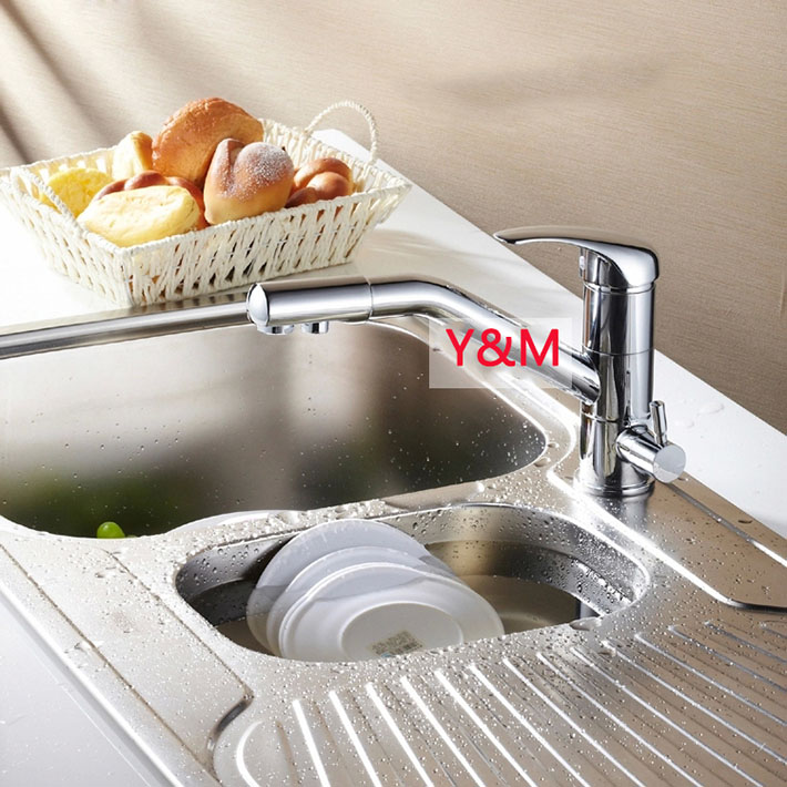 Smart Brass 3 Way Faucet, Hot & Cold & Purified Water tap , Drinking water kitchen sink mixer 100% brass chrome polished hot and cold water purifier tap 3 way kitchen sink mixer faucet 2 holes drinking water tap kf042