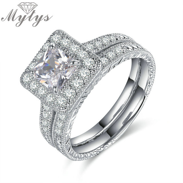 mytys pave setting crystal white gold color silver square wedding ring bridal sets for women engagement - Square Wedding Ring