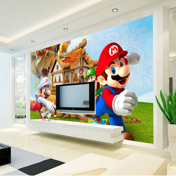 Super mario wall mural for Boys room wall mural