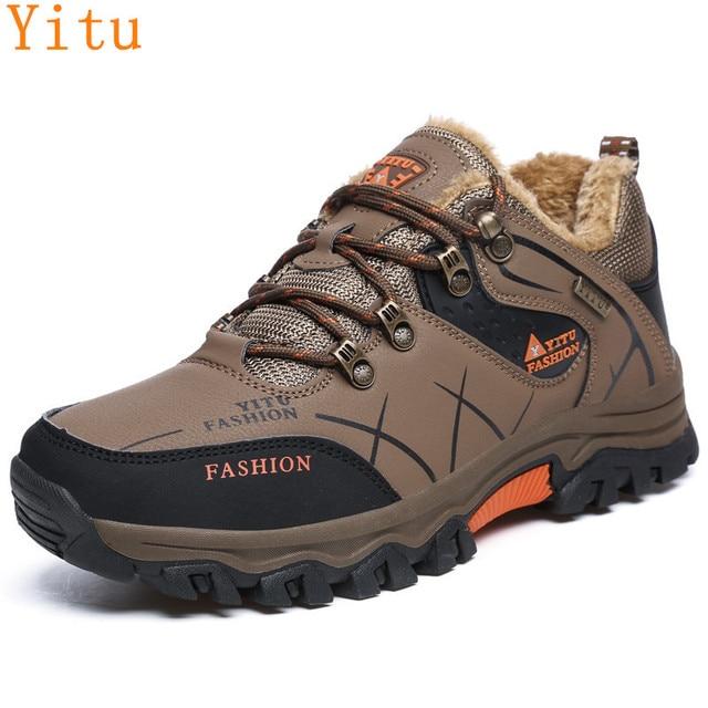 39-47 Winter Shoes Plush Warm Men Shoes Casual Anti-skidding Men Boots Large Size Leather Shoes Male