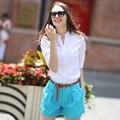 Veri gude verão estilo curto para as mulheres casuais calções de cores doces livre com cinto