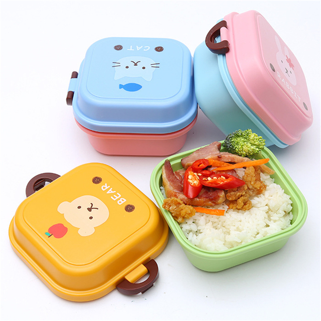Cartoon Pattern Healthy Lunch Food Box Double Layer Design Small Meal Dinnerware Set Kids School