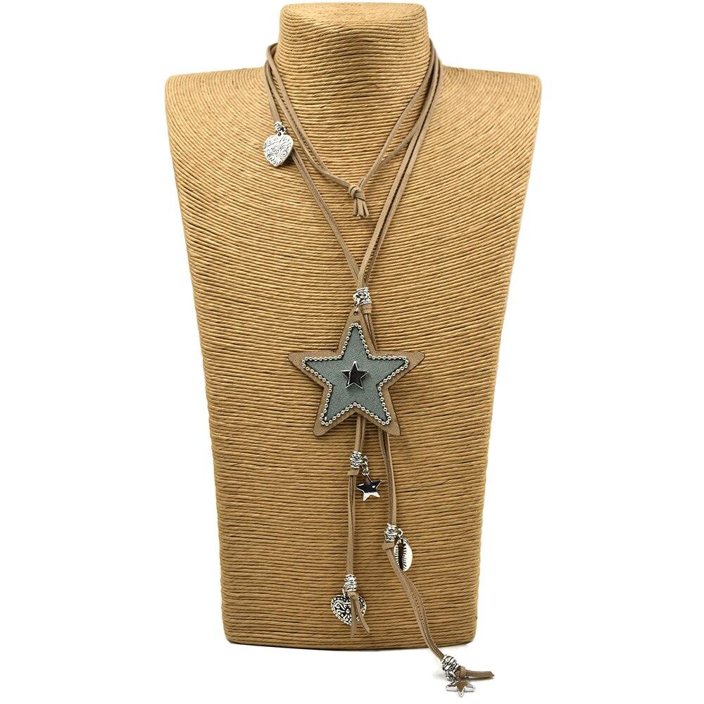 Prix pour Nouvelle main en cuir cordon cinq étoiles Pentagramme pendentifs long collier