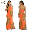 S-3XL Plus Size Summer Beach Casual Style Women Hot Halter Maxi Dress Print Sleeveless Long Dress