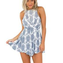Sexy Rompers Women Fashion Bohemian Floral Printed Playsuits Jumpsuit Womens Summer Beach Backless Halter Jumpsuit Shorts