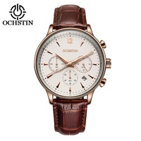 2016 Fashion OCHSTIN Men Watches Top Brand Luxury CHRONOGRAPH Function Date Leather Sport Watch Men Business
