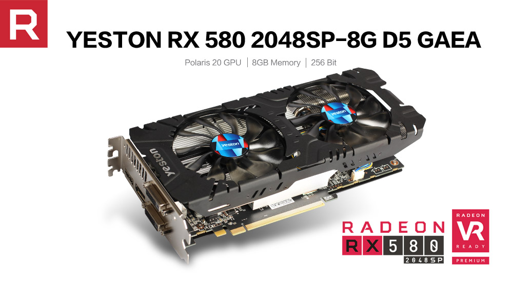 US $179 96 25% OFF|Yeston Radeon RX 580 GPU 8GB GDDR5 256bit Gaming Desktop  computer PC Video Graphics Cards support DVI/HDMI PCI E X16 3 0-in