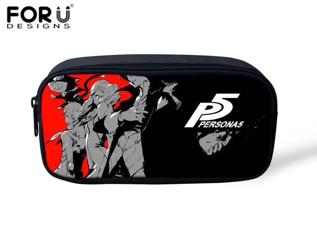 FORUDESIGNS Kids Pencil Bags Persona 5 Printed Women Make Up Bag Professional Cosmetic Case Girls Pencil Case Kawaii Purse Pouch