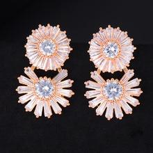 SisCathy Brand Flower Full Cubic Zirconia CZ Earrings Luxury Engagement Wedding Party Nightclub Statment Stud